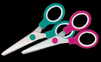 <p>Nożyczki wykonane ze stali nierdzewnej z zaokrąglonymi końcówkami. Uchwyty wykonane z tworzywa sztucznego.</p>