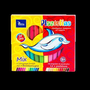 <p>Plastelina pastelowa (12 kolorów) i fluorescencyjna (12 kolorów). Elastyczna. Nietoksyczna. Nie wysycha, nie przywiera do powierzchni, nie brudzi rąk.<br /><br /></p>