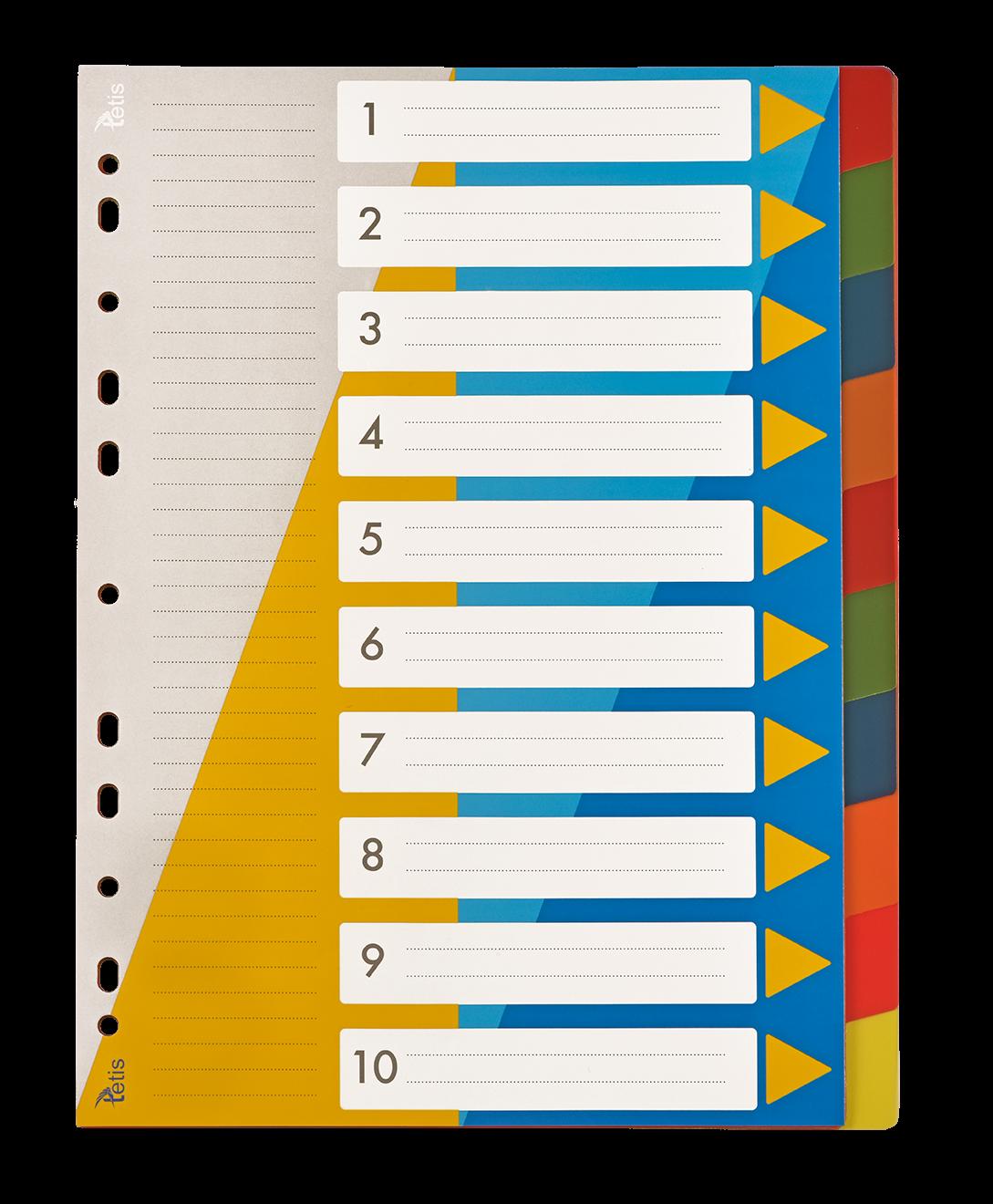 <p>Przekładki PP numeryczne w formacie A4, numeracja 1-10.</p>