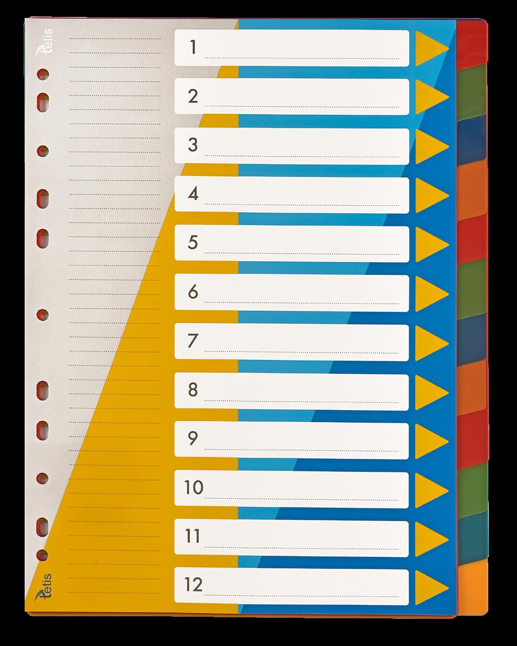 <p>Przekładki PP numeryczne w formacie A4, numeracja 1-12</p>