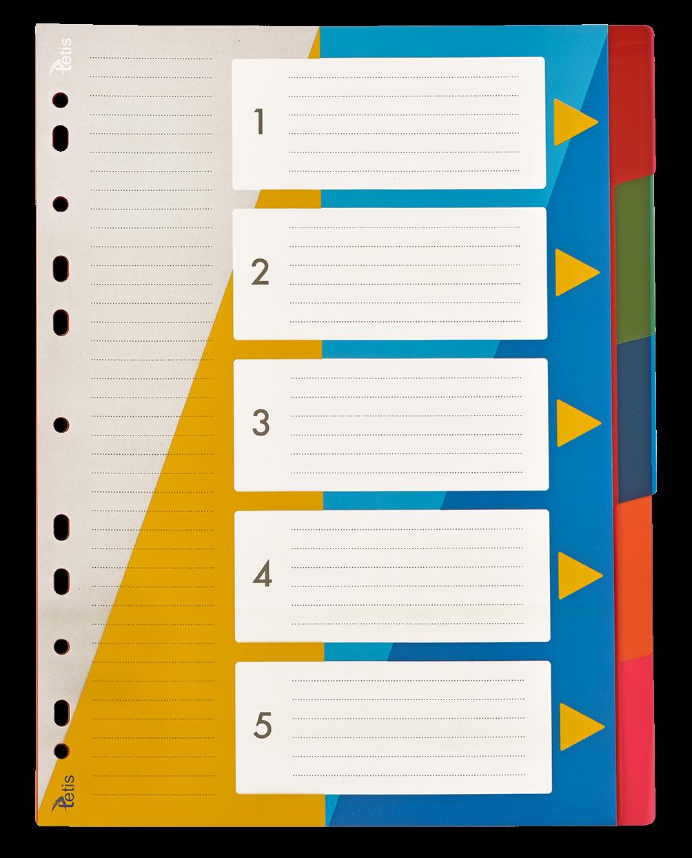 <p>Przekładki numeryczne w formacie A4, numeracja 1-5</p>